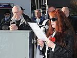 Bridie Maxwell watched on by her husband Paddy reads a poem  at the annual memorial cermony at the Cenotaph. Photo: Colin Bell/pressphotos.ie