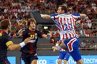 08.09.2012 MADRID, SPAIN -  XXVII Supercopa Asobal match played between BM At. Madrid vs F.C. Barcelona Intersport (31-34) at Palacio Vistalegre stadium. The picture show  Mariusz Jurkiewicz (BM Atletico de Madrid)