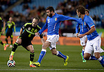 Iniesta vies with Borriello during the FIFA friendly football match Spain vs Italy on March 5, 2014 on the eve of their World Cup 2014 at the Vicente Calderon stadium in Madrid.  PHOTOCALL3000 / DP