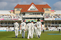 Picture by Allan McKenzie/SWpix.com - 11/09/2014 - Cricket - LV County Championship Div One - Nottinghamshire County Cricket Club v Yorkshire County Cricket Club - Trent Bridge, West Bridgford, England County Cricket Club - Yorkshire take to the field against Nottinghamshire at Trent Bridge.