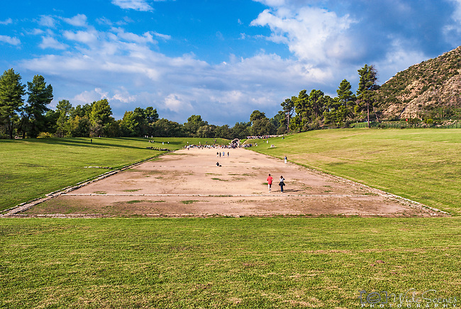 The archaeological site of Olympic stadium, Olympia, Greece