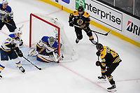 June 12, 2019: Boston Bruins center David Krejci (46) takes a shot at St. Louis Blues goaltender Jordan Binnington (50) during game 7 of the NHL Stanley Cup Finals between the St Louis Blues and the Boston Bruins held at TD Garden, in Boston, Mass.  The Saint Louis Blues defeat the Boston Bruins 4-1 in game 7 to win the 2019 Stanley Cup Championship.  Eric Canha/CSM.