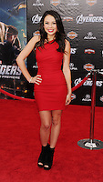 HOLLYWOOD, CA - APRIL 11: Janel Parrish attends the World premiere of 'Marvel's Avengers' at the El Capitan Theatre on April 11, 2012 in Hollywood, California.