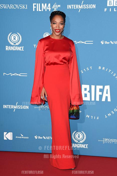 LONDON, UK. December 02, 2018: Naomie Akie at the British Independent Film Awards 2018 at Old Billingsgate, London.<br /> Picture: Steve Vas/Featureflash