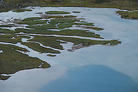 Detail of small mountain lake in Alisvaggi from mountain viewpoint near Tjäktja hut, Kungsleden trail, Lapland, Sweden