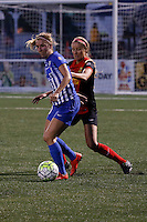 Rochester, NY - Friday May 27, 2016: Western New York Flash forward Courtney Niemiec (23) and Boston Breakers midfielder Louise Schillgard (10). The Western New York Flash defeated the Boston Breakers 4-0 during a regular season National Women's Soccer League (NWSL) match at Rochester Rhinos Stadium.