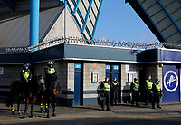 Police presence seen prior to the Sky Bet Championship match between Millwall and Birmingham City at The Den, London, England on 21 October 2017. Photo by Carlton Myrie.