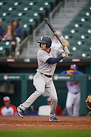Scranton/Wilkes-Barre RailRiders Tyler Wade (9) at bat during an International League game against the Buffalo Bisons on June 5, 2019 at Sahlen Field in Buffalo, New York.  Scranton defeated Buffalo 3-0, the first game of a doubleheader.  (Mike Janes/Four Seam Images)