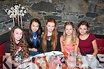 Kasey O'Connor, Caherslee, Tralee (seated centre) celebrated her 14th birthday last Saturday evening in Restaurant Uno's, Tralee, l-r: Isobel Carnegie, Tamila Khussainova, Kasey O'Connor, Adelina, Nikolajeva and Matea Bogdanovic