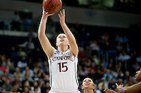 NORFOLK, VA--Toni Kokenis makes two during play against West Virginia University at the Ted Constant Convocation Center at Old Dominion University for the second round of the 2012 NCAA Championships. The Cardinal advanced to the West Regionals in Fresno with a score of 72-55.