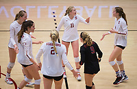 STANFORD, CA - November 15, 2017: Jenna Gray, Audriana Fitzmorris, Kathryn Plummer, Kate Formico, Morgan Hentz, Meghan McClure at Maples Pavilion. The Stanford Cardinal defeated USC 3-0 to claim the Pac-12 conference title.