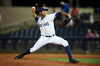 Charlotte Stone Crabs relief pitcher Yoel Espinal (16) delivers a pitch during a game against the Palm Beach Cardinals on April 11, 2017 at Charlotte Sports Park in Port Charlotte, Florida.  Palm Beach defeated Charlotte 12-6.  (Mike Janes/Four Seam Images)