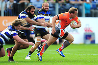 Ben Sowrey of Newcastle Falcons takes on the Bath Rugby defence. Aviva Premiership match, between Bath Rugby and Newcastle Falcons on September 10, 2016 at the Recreation Ground in Bath, England. Photo by: Patrick Khachfe / Onside Images