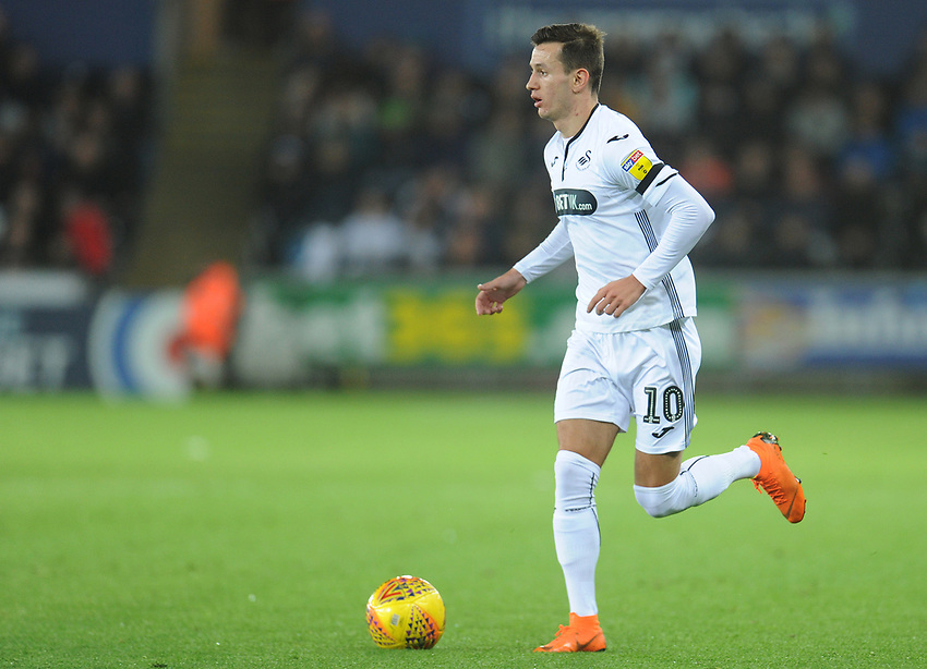 Swansea City's Bersant Celina<br /> <br /> Photographer Kevin Barnes/CameraSport<br /> <br /> The EFL Sky Bet Championship - Swansea City v West Bromwich Albion - Wednesday 28th November 2018 - Liberty Stadium - Swansea<br /> <br /> World Copyright © 2018 CameraSport. All rights reserved. 43 Linden Ave. Countesthorpe. Leicester. England. LE8 5PG - Tel: +44 (0) 116 277 4147 - admin@camerasport.com - www.camerasport.com