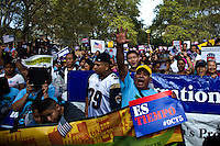 People attend a rally in support of the Immigrant reform in New York,  Oct 5, 2013, Photo by Eduardo Munoz Alvarez / VIEWpress.