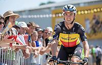 Belgian National Champion Yves Lampaert (BEL/Quick Step Floors) on his way to the pre race sign on.<br /> <br /> Stage 2: Mouilleron-Saint-Germain > La Roche-sur-Yon (183km)<br /> <br /> Le Grand Départ 2018<br /> 105th Tour de France 2018<br /> ©kramon