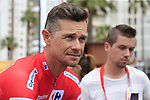 Race leader Red Jersey Nicolas Roche (IRL) Team Sunweb at sign on before the start of Stage 4 of La Vuelta 2019 running 175.5km from Cullera to El Puig, Spain. 27th August 2019.<br /> Picture: Eoin Clarke | Cyclefile<br /> <br /> All photos usage must carry mandatory copyright credit (© Cyclefile | Eoin Clarke)