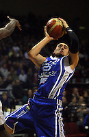 Leon Henry tries to shoot after being fouled during the NBL Basketball match between the Wellington Saints and Bay Hawks, TSB Bank Arena, Wellington, New Zealand on Saturday, 10 May 2008. Photo: Dave Lintott / lintottphoto.co.nz