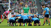 Jamie Heaslip of Ireland is the last to go down for a scrum during Match 28 of the Rugby World Cup 2015 between Ireland and Italy - 04/10/2015 - Queen Elizabeth Olympic Park, London<br /> Mandatory Credit: Rob Munro/Stewart Communications