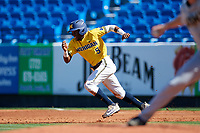 Michigan Wolverines right fielder Christan Bullock (5) steals second base during a game against Army West Point on February 17, 2018 at Tradition Field in St. Lucie, Florida.  Army defeated Michigan 4-3.  (Mike Janes/Four Seam Images)