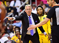 Washington, DC - June 15, 2018: Los Angeles Sparks head coach Brian Agler argues a call during game between the Washington Mystics and Los Angeles Sparks at the Capital One Arena in Washington, DC. (Photo by Phil Peters/Media Images International)
