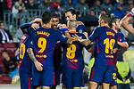 Lionel Andres Messi and Luis Alberto Suarez Diaz of FC Barcelona celebrate with teammates during the UEFA Champions League 2017-18 match between FC Barcelona and Olympiacos FC at Camp Nou on 18 October 2017 in Barcelona, Spain. Photo by Vicens Gimenez / Power Sport Images