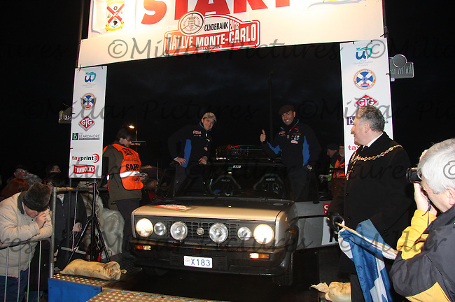 Nicola Parolin and Alberto Gessa in the 1979 Monateam Fiat 131 Racing at the Start Ramp of the Rallye Monte Carlo Historique which started at Clydebank College on 29.1.12.