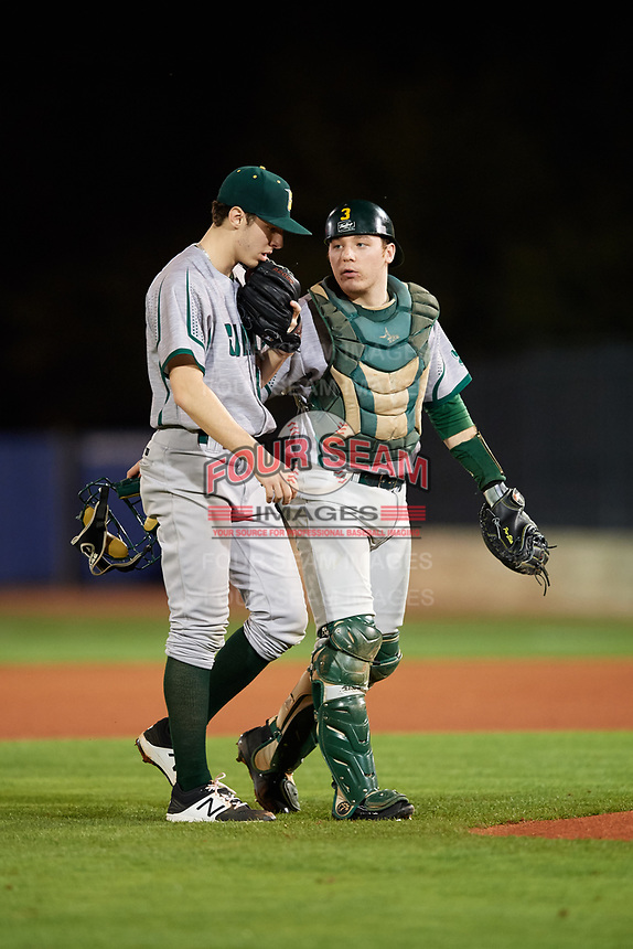 Siena Saints catcher Phil Madonna (3) talks with starting pitcher Brendan White (31) during a game against the Florida Gators on February 16, 2018 at Alfred A. McKethan Stadium in Gainesville, Florida.  Florida defeated Siena 7-1.  (Mike Janes/Four Seam Images)