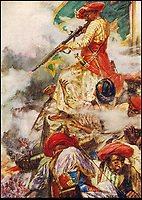 BNPS.co.uk (01202) 558833<br /> Pic: <br /> <br /> Tipu is now an Indian folk hero - Painting of Tipu Sultan firing his musket during another battle with the British.<br /> <br /> Stunning artefacts from Indian hero Tipu Sultan's fateful last stand have been rediscovered by the family of an East India Company Major who took part in the famous battle that ended his reign.<br /> <br /> And now Major Thomas Hart's lucky descendents are likely to become overnight millionaires after retrieving the historic items from their dusty attic.<br /> <br /> The fascinating treasures were taken from Tipu's captured fortress of Seringapatam in the wake of his defeat by British forces led by a young Duke of Wellington in 1799.<br /> <br /> The cache of ornate gold arms and personal effects even include's the battle damaged musket the Sultan used in his fatal last stand against the expanding British Empire in India.<br /> <br /> Tipu was last seen on the battlements of the fortress firing his hunting musket at the advancing British and after the fierce encounter his body was found bearing many wounds, including a musket ball shot above his right eye.<br /> <br /> The rediscovered musket, complete with battle damaged bayonet, has the distinctive tiger stripe pattern unique to the self styled Tiger of Mysore own weapons - and tellingly there is also shot damage to the lock and stock that may have been caused by the musket ball that finished him off.<br /> <br /> Also included in the sale are four ornate gold-encrusted sword's bearing the mark of Haider Ali Khan, Tipu's father and the previous ruler of independent Mysore, along with a solid gold &lsquo;betel casket&rsquo; complete with three 220 year old nuts still inside.<br /> <br /> The war booty was brought back to Britain by Major Thomas Hart of the British East India Company following the fourth and final Anglo-Mysore war.<br /> <br /> They have been passed down through the family ever since and now belong to a couple who have kept them wrapped in newspaper in the dusty attic of their semi-detached home for years.