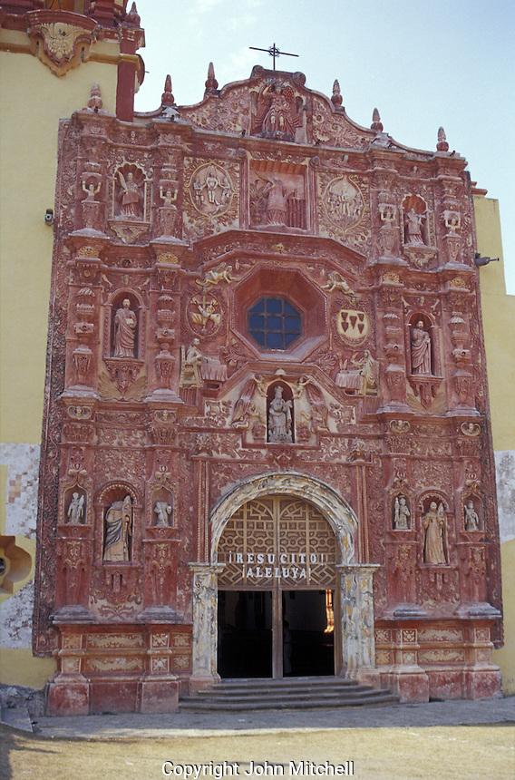 Mexican baroque style facade of the church at Mison de Landa de Metamoros in the Sierra Gorda, Queretaro state, Mexico. Mision de Landa is the last of five Franciscan missions established by Fray Junipero Serra between 1751 and 1768.