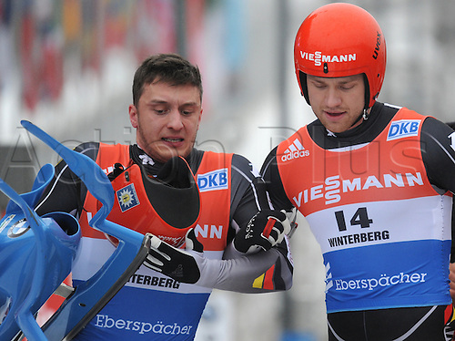 20.02.2016. Winterberg, Germany.  Toni Eggert (R) and Sascha Benecken(L)of Germany celebrate after winning the men's two-seater event at the Luge World Cup in Winterberg, Germany, 20 February 2016.