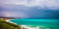 Panoramic photo of a thunder and lightning storm over Capo Bianco Beach and the Mediterranean Sea in the Province of Agrigento, Sicily, Italy, Europe. This is a panoramic photo of a thunder and lightning storm over Capo Bianco Beach and the Mediterranean Sea in the Province of Agrigento, Sicily, Italy, Europe.