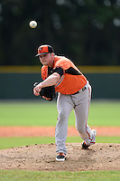 Pitcher Aaron Laffey (32) of the Baltimore Orioles organization during a minor league spring training camp day game on March 23, 2014 at Buck O'Neil Complex in Sarasota, Florida.  (Mike Janes/Four Seam Images)