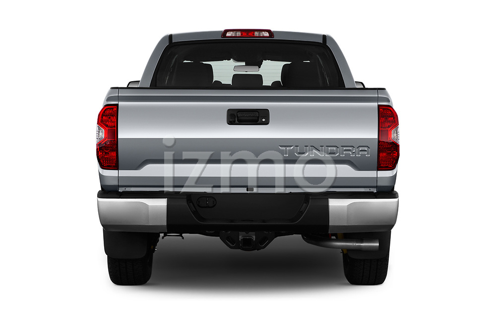 Straight rear view of a 2019 Toyota Tundra SR5 5.7L Crew Max 4WD Short Bed 4 Door Pick Up stock images
