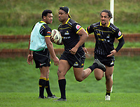 From left, Losi Filipo, Julian Savea and Lester Maulolo. Wellington Lions rugby union Mitre 10 Cup training at Rugby League Park in Wellington, New Zealand on Thursday, 18 August 2017. Photo: Dave Lintott / lintottphoto.co.nz