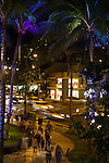 Kalakaua Avenue, the main street that runs parallel to Waikiki beach, is famous for its shopping and nightlife in Honolulu, Oahu, Hawaii
