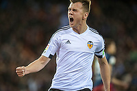 VALENCIA, SPAIN - MARCH 6: Sheryshev celebrating his goal during BBVA League match between Valencia C.F. and Athletico de Madrid at Mestalla Stadium on March 6, 2015 in Valencia, Spain