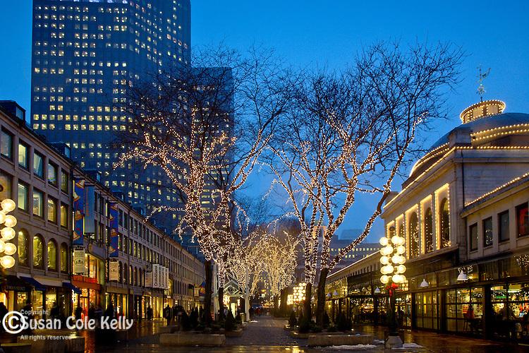 Christmas lights at Quincy Market Faneuil Hall Marketplace Boston MA & MAFTQM-0037.jpg | Susan Cole Kelly Photography azcodes.com