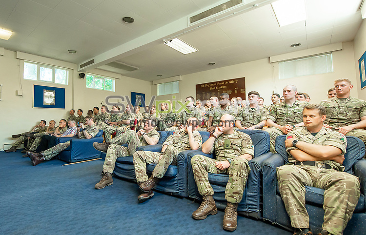Picture by Allan McKenzie/SWpix.com - 14/06/2018 - Commercial - Rugby League - Rugby League World Cup 2021 Ambassador Unveil, Marne Barracks, Catterick, England - Part of James Simspon's old regiment including those on tour with him when he was last active.