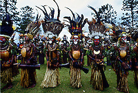 Tribes people in war paints at gathering of tribes, Mount Hagen, Papua New Guinea, South Pacific