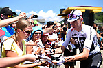 Chris Froome (GBR) Team Sky with fans at sign on before the start of Stage 11 of the 2018 Tour de France running 108.5km from Albertville to La Rosiere Espace San Bernardo, France. 18th July 2018. <br /> Picture: ASO/Alex Broadway | Cyclefile<br /> All photos usage must carry mandatory copyright credit (&copy; Cyclefile | ASO/Alex Broadway)