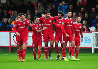 Accrington Stanley's Ben Richards-Everton (centre) celebrates scoring his sides first goal with team-mates<br /> <br /> Photographer Kevin Barnes/CameraSport<br /> <br /> The Carabao Cup - Accrington Stanley v Preston North End - Tuesday 8th August 2017 - Crown Ground - Accrington<br />  <br /> World Copyright &copy; 2017 CameraSport. All rights reserved. 43 Linden Ave. Countesthorpe. Leicester. England. LE8 5PG - Tel: +44 (0) 116 277 4147 - admin@camerasport.com - www.camerasport.com