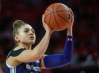COLLEGE PARK, MD - JANUARY 26: Lindsey Pulliam #10 of Northwestern at the free throw line during a game between Northwestern and Maryland at Xfinity Center on January 26, 2020 in College Park, Maryland.