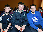 Oisín Doherty, Cian Lynch and Cormac Levins at the Newtown Blues juvenile awards presentations held in the Barbican Centre. Photo:Colin Bell/pressphotos.ie