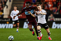 1st February 2020; Mestalla, Valencia, Spain; La Liga Football,Valencia versus Celta Vigo; Joseph Aidoo of Celta challenges Kevin Gameiro of Valencia CF