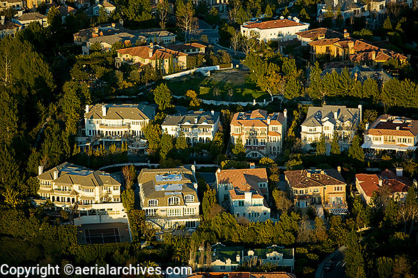 aerial photograph Beverly Hills homes Los Angeles, California