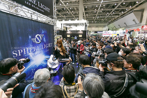 Booth assistants pose for cameras during the 44th Tokyo Motorcycle Show at Tokyo Big Sight on March 25, 2017, Tokyo, Japan. The exhibition runs from March 24 to 26. (Photo by Rodrigo Reyes Marin/AFLO)