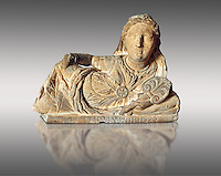 Etruscan sculpted Hellenistic style cinerary, funreary, urn cover with a women ,  National Archaeological Museum Florence, Italy