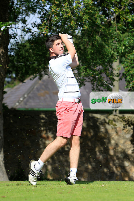 Rory McGrath (Grange) on the 2nd tee during Round 1 of the Grange Dublin Boys on Monday 21th July 2014.<br /> Picture:  Thos Caffrey / www.golffile.ie