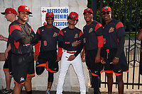 Batavia Muckdogs players Jeremy Ovalle (31), Marcos Rivera (8), Ricardo Cespedes (47), Alberto Guerrero (36), and Thomas Jones (29) during a team autograph signing before a game against the Mahoning Valley Scrappers on August 30, 2017 at Dwyer Stadium in Batavia, New York.  Batavia defeated Mahoning Valley 5-1.  (Mike Janes/Four Seam Images)